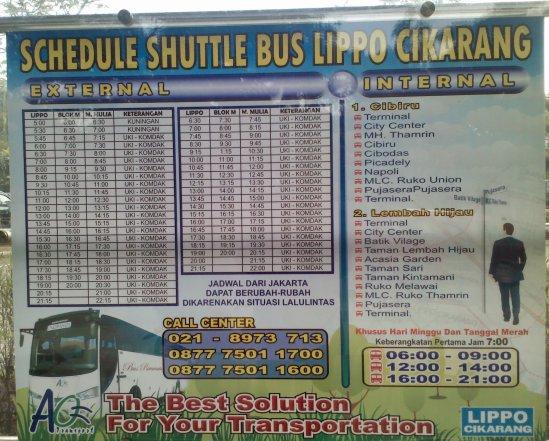 Schedule Shuttle Bus Lippo Cikarang