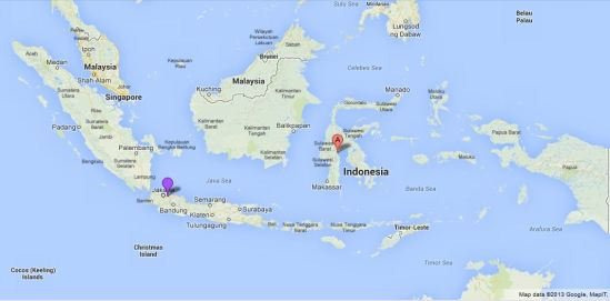 Posisi kota Palopo (A) terhadap Jakarta