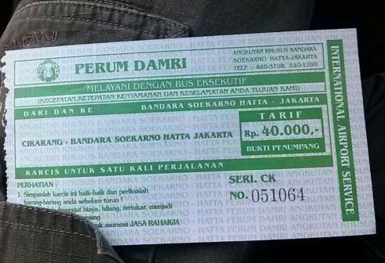 Tarif bus Damri Cikarang - Bandara Soekarno-Hatta (40.000 rupiah)
