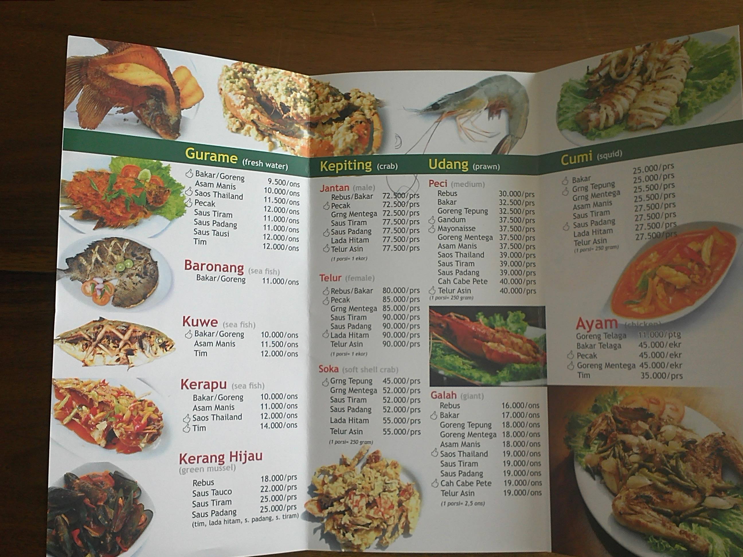 Daftar Menu Telaga Seafood Irawan S Blog