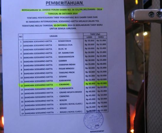 Tarif baru Bus Damri Bandara Soekarno-Hatta 2014