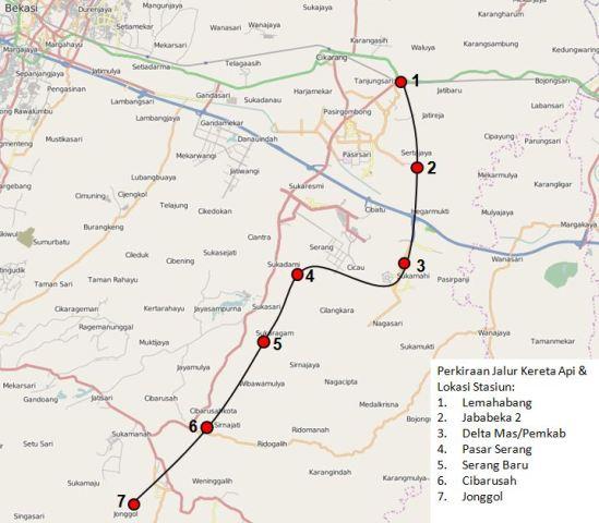 Peta Jalur Kereta Api Kabupaten Bekasi