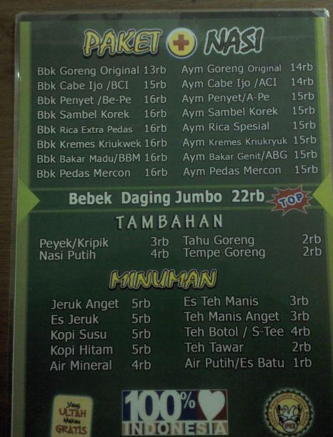 Daftar menu dan harga Bebek Jambul, Cikarang