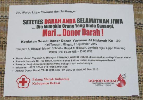 Donor Darah di Jadwal Donor Darah di Yayasan Al-Hidayah Lembah Hijau - Lippo Cikarang